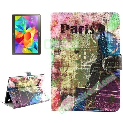 Color Pattern Stand Style Leather Flip Cover for Samsung Galaxy Tab S 10.5 T800 (Paris Tower)