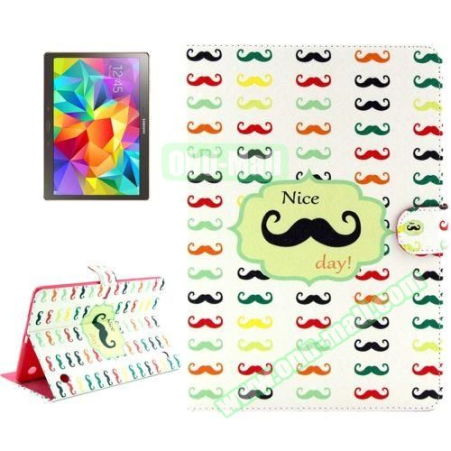 Color Pattern Stand Style Leather Flip Cover for Samsung Galaxy Tab S 10.5 T800 (Moustache)