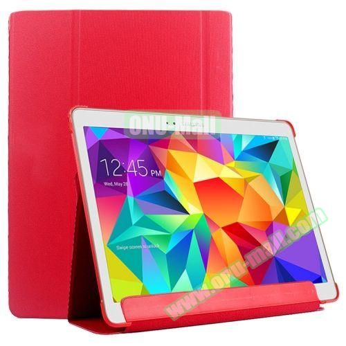 Slim Lattice Texture Flip Leather Case for Samsung Galaxy Tab S 10.5 T800 (Red)