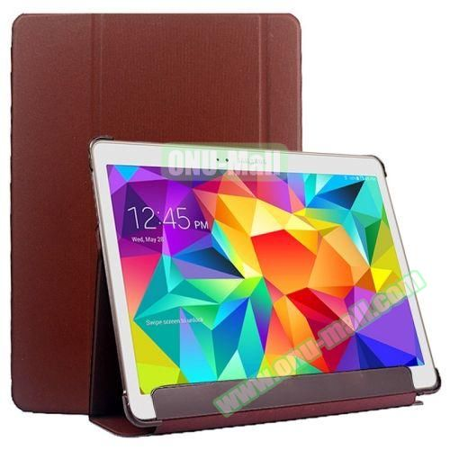 Slim Lattice Texture Flip Leather Case for Samsung Galaxy Tab S 10.5 T800 (Brown)