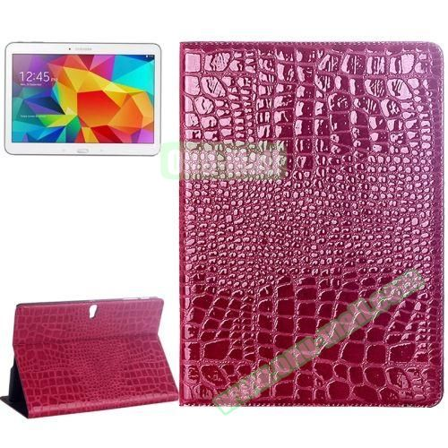 Crocodile Texture Flip Leather Case for Samsung Galaxy Tab S 10.5 T800 with Holder (Rose)
