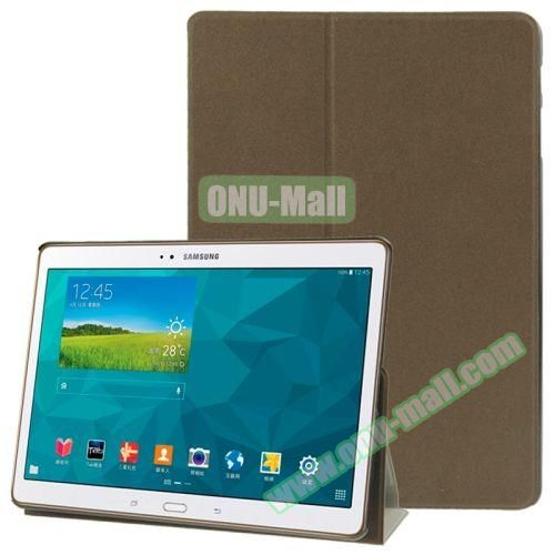 Frosted Texture Flip Leather Case for Samsung Galaxy Tab S 10.5 T800 with Holder (Dark Brown)