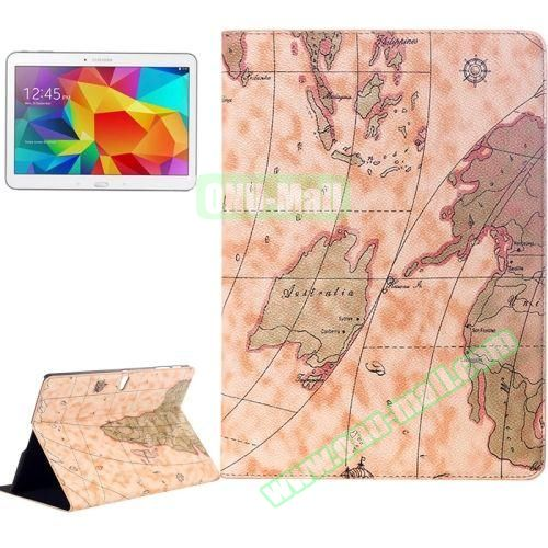 World Map Pattern Flip Leather Case for Samsung Galaxy Tab S 10.5 T800 with Holder (Light Yellow)