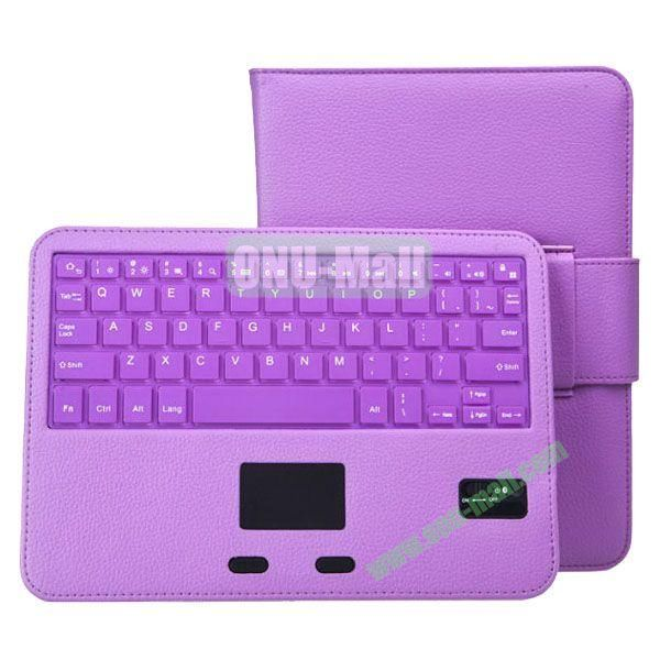 Removable Magnetic Bluetooth Keyboard Leather Case for Samsung Galaxy Tab 4 10.1 with Touch Pad (Purple)