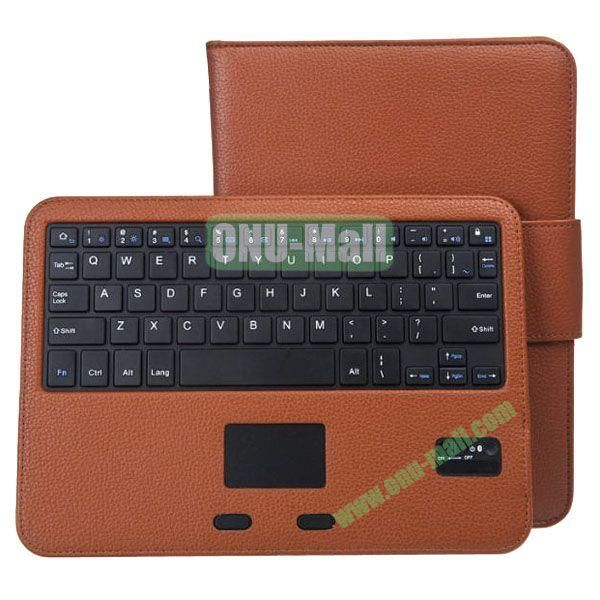 Removable Magnetic Bluetooth Keyboard Leather Case for Samsung Galaxy Tab 4 10.1 with Touch Pad (Brown)