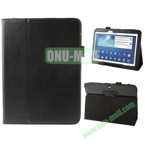 Crazy Horse Texture Leather Cover for Samsung Galaxy Tab 3 (10.1)  GT-P5200 with Holder (Black)