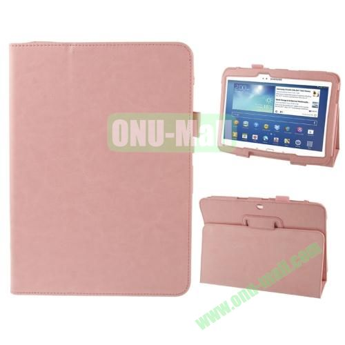 Crazy Horse Texture Leather Cover for Samsung Galaxy Tab 3 (10.1)  GT-P5200 with Holder (Pink)