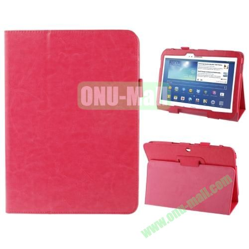 Crazy Horse Texture Leather Cover for Samsung Galaxy Tab 3 (10.1)  GT-P5200 with Holder (Rose)