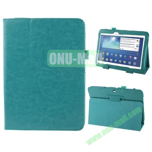 Crazy Horse Texture Leather Cover for Samsung Galaxy Tab 3 (10.1)  GT-P5200 with Holder (Blue)