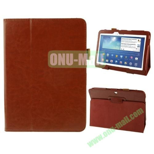 Crazy Horse Texture Leather Cover for Samsung Galaxy Tab 3 (10.1)  GT-P5200 with Holder (Brown)