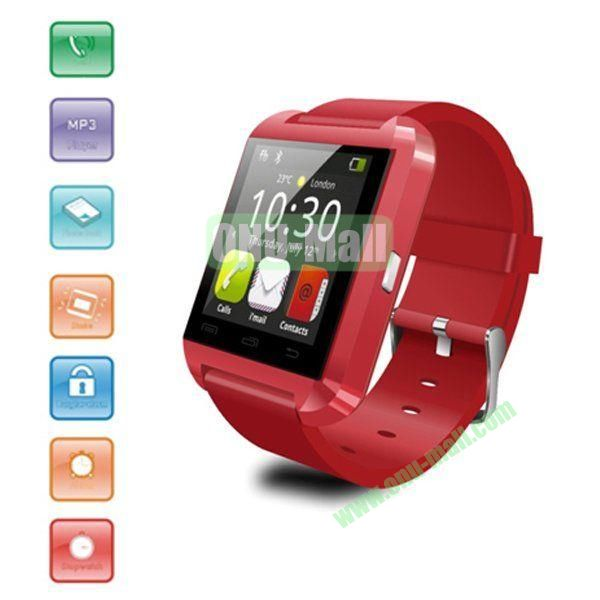 Android Bluetooth Touch Screen Smart Watch, Phonebook Watch Wristwatch Smartphone with Remote Taking Photo Function (Red)