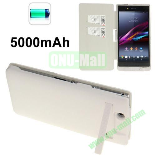 5000mAh Power Bank External Battery Leather Case for Sony Xperia Z Ultra  XL39h with Credit Card Slots & Holder (White)