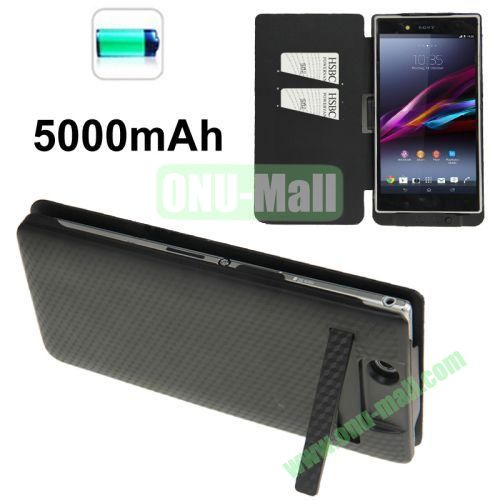5000mAh Power Bank External Battery Leather Case for Sony Xperia Z Ultra  XL39h with Credit Card Slots & Holder (Black)