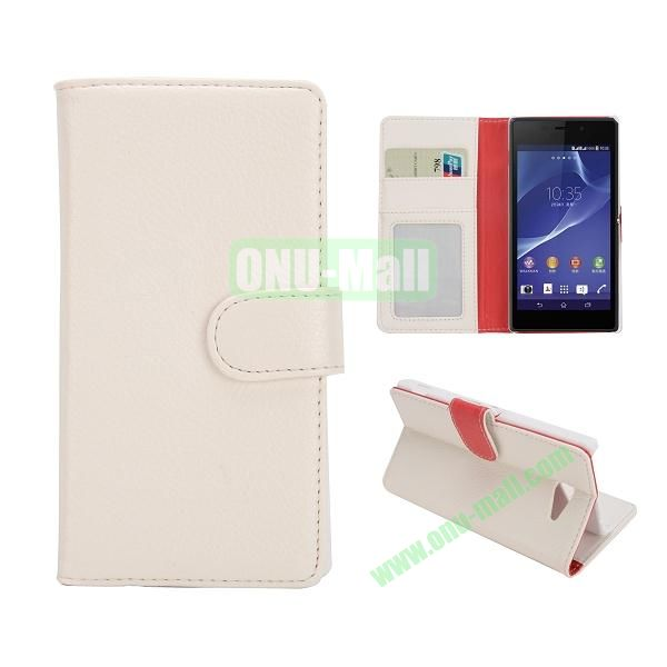 Lichee Texture Wallet Leather Case for Sony Xperia M2 S50h with Credit Card Slots and Stand (White)