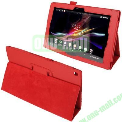 New Arrival Litchi Texture Leather Case with Stand and Pen Holder for Sony Xperia Tablet Z (Red)