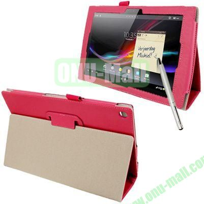 Crazy Horse Texture Leather Case for Sony Xperia Tablet Z with Holder  Sleep  Wake-up Function  Touch Pen (Rose)