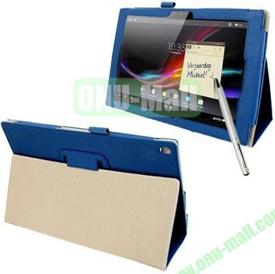 Crazy Horse Texture Leather Case for Sony Xperia Tablet Z with Holder  Sleep  Wake-up Function  Touch Pen (Blue)