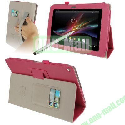 Wallet Leather Cover for Sony Xperia Tablet Z with HolderElastic Hand StrapTouch Pen (Rose)