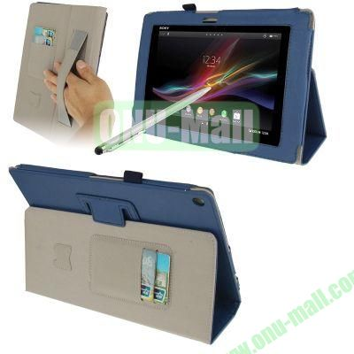 Wallet Leather Cover for Sony Xperia Tablet Z with HolderElastic Hand StrapTouch Pen (Blue)