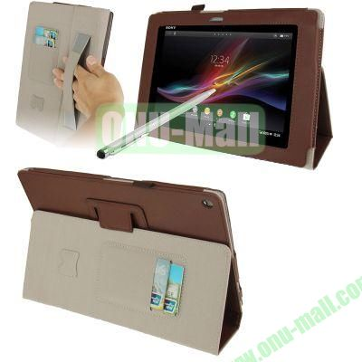 Wallet Leather Cover for Sony Xperia Tablet Z with HolderElastic Hand StrapTouch Pen (Brown)