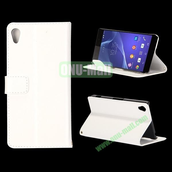 Crazy Horse Texture Flip Leather Case for Sony Xperia Z2 L50w with Stand and Card Slots (White)