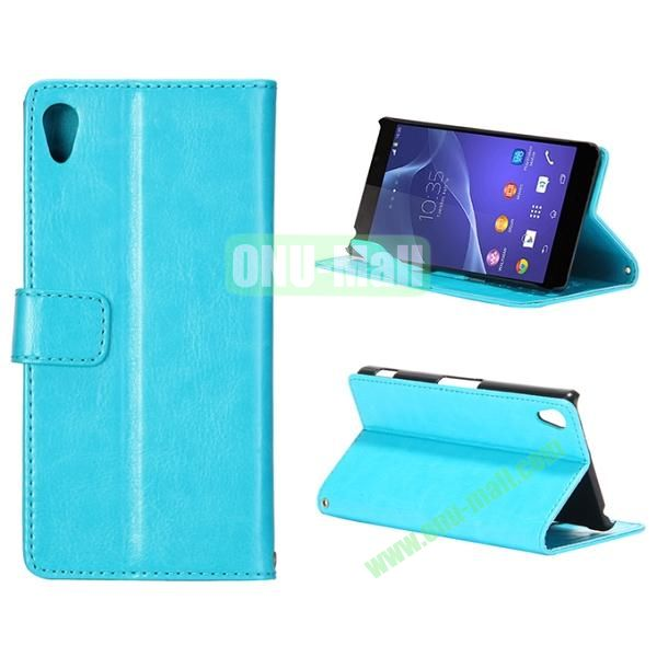 Crazy Horse Texture Flip Leather Case for Sony Xperia Z2 L50w with Stand and Card Slots (Blue)