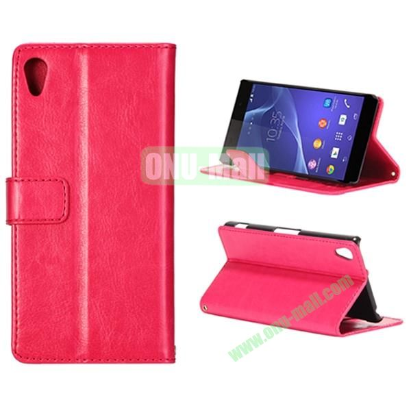 Crazy Horse Texture Flip Leather Case for Sony Xperia Z2 L50w with Stand and Card Slots (Pink)
