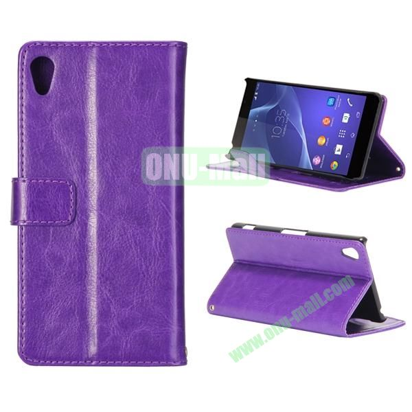 Crazy Horse Texture Flip Leather Case for Sony Xperia Z2 L50w with Stand and Card Slots (Purple)