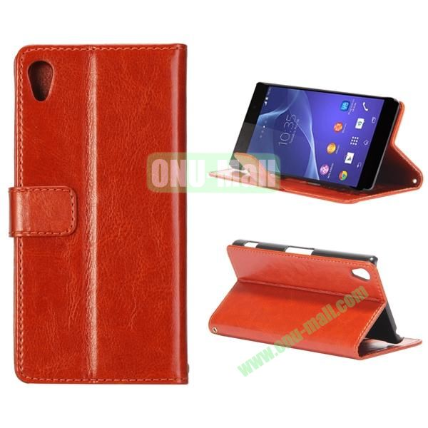 Crazy Horse Texture Flip Leather Case for Sony Xperia Z2 L50w with Stand and Card Slots (Brown)