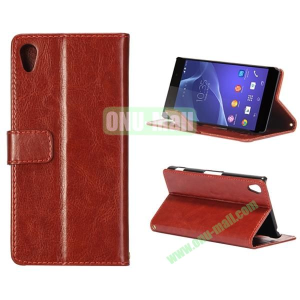 Crazy Horse Texture Flip Leather Case for Sony Xperia Z2 L50w with Stand and Card Slots (Coffee)