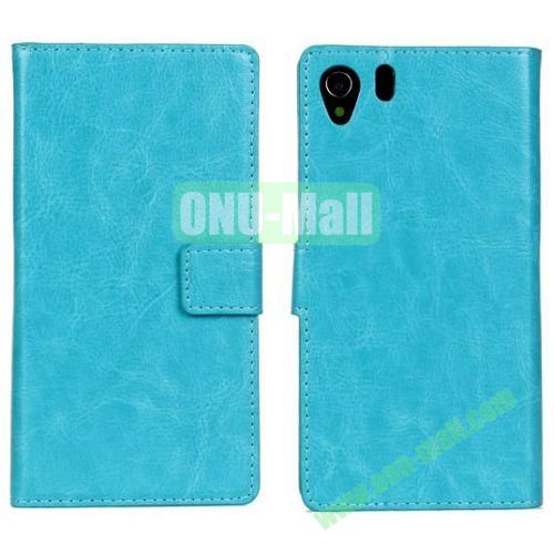 Crazy Horse Texture Leather Case with Card Slots and Holder for Sony Xperia Z1L39h (Blue)