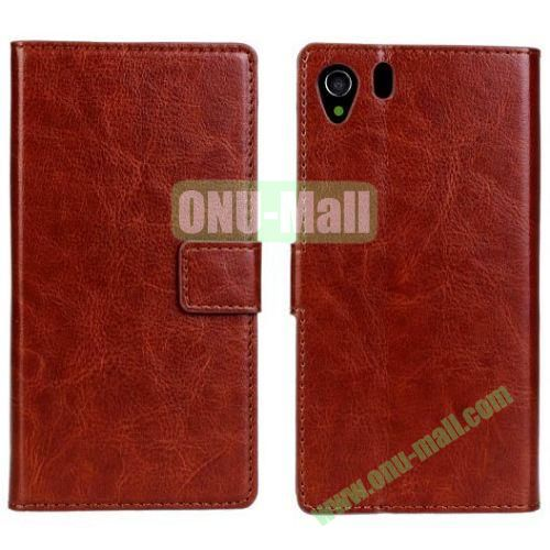 Crazy Horse Texture Leather Case with Card Slots and Holder for Sony Xperia Z1L39h (Brown)