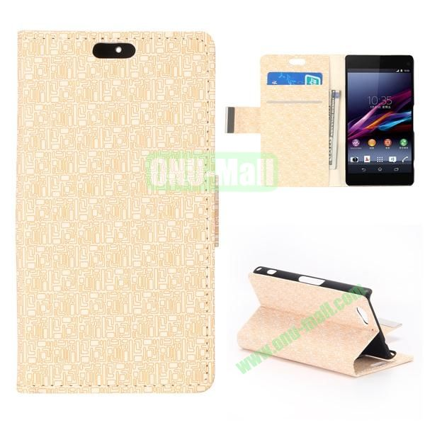 Maze Pattern Side Flip Wallet Leather Case for Sony Xperia A2 (White)