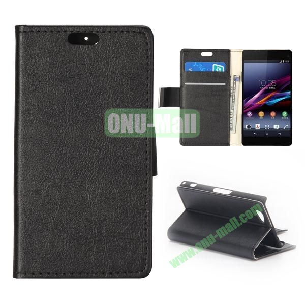 Crazy Horse Texture Flip Leather Case for Sony Xperia A2 (Black)