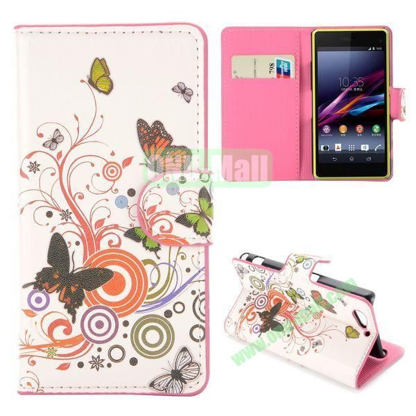 Colorful Butterfly Pattern Flip Stand Leather Case for Sony Xperia A2 Z2 Mini