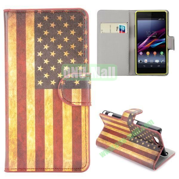 Retro USA Flag Pattern Flip Stand Leather Case for Sony Xperia A2 Z2 Mini