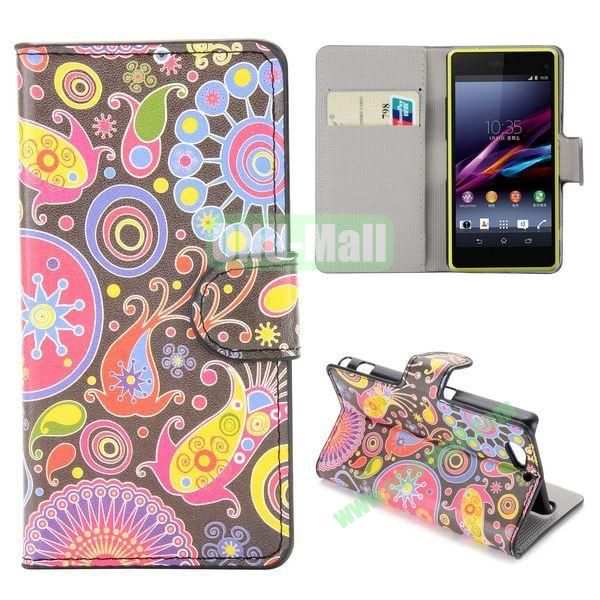 Colorized Fish Pattern Flip Stand Leather Case for Sony Xperia A2 Z2 Mini
