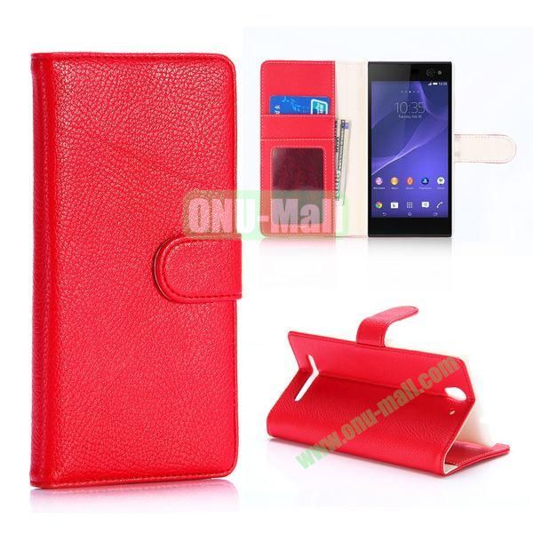 Litchi Texture Flip Stand Leather Case For Sony Xperia C3 D2533 C3 Dual D2502 (Red)