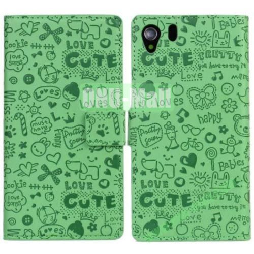 Magic Girl Leather Case for Sony Xperia Z1 L39h with Card Slots and Holder (Green)