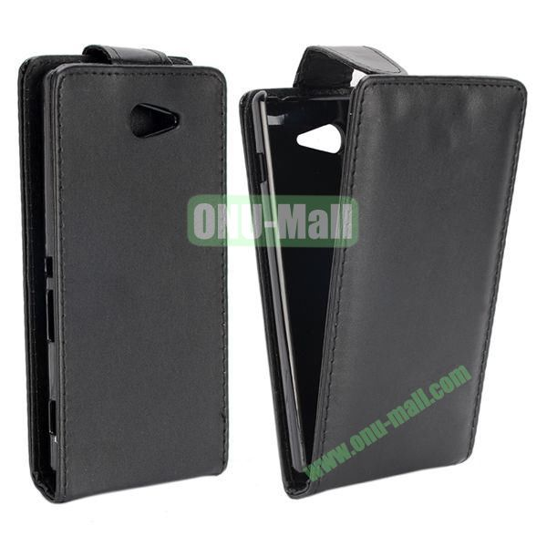 Vertical Flip Magnetic Leather Case for Sony Xperia M2  S50h (Black)
