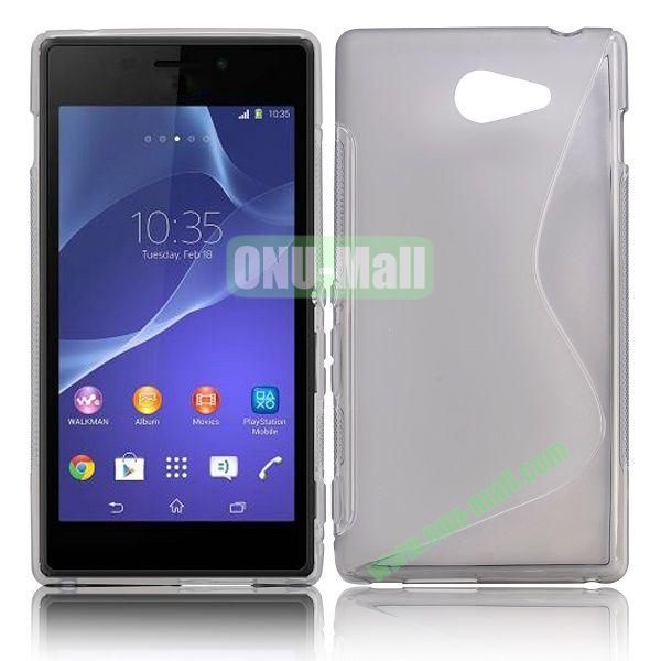 S Shape TPU Case for Sony Xperia M2 (Grey)