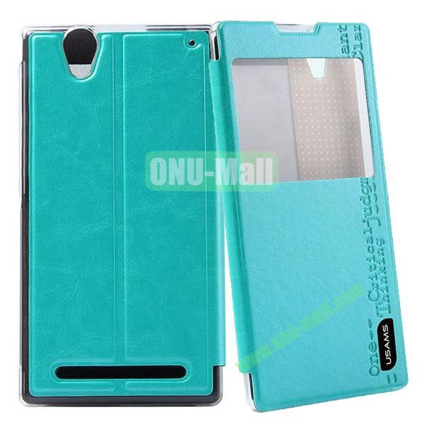 USAMS Merry Series Pure Color Leather Case for Sony Xperia T2 UltraXM50h with Stand (Blue)