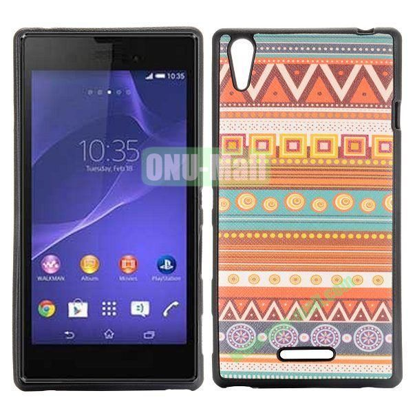 Geometric Tribal Pattern Cross Texture Leather Coated Design TPU Case for Sony Xperia T3 D5102 D5103 D5106