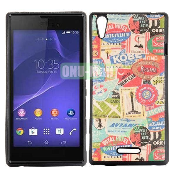 Trademarks Pattern Cross Texture Leather Coated Design TPU Case for Sony Xperia T3 D5102 D5103 D5106