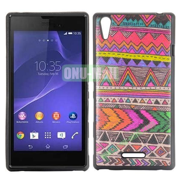 Colorized Tribal Pattern Cross Texture Leather Coated Design TPU Case for Sony Xperia T3 D5102 D5103 D5106