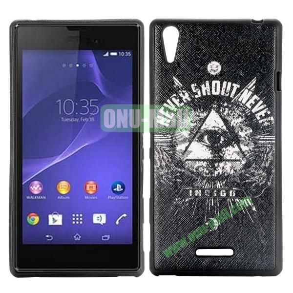 Triangle Eye Pattern Cross Texture Leather Coated Design TPU Case for Sony Xperia T3 D5102 D5103 D5106