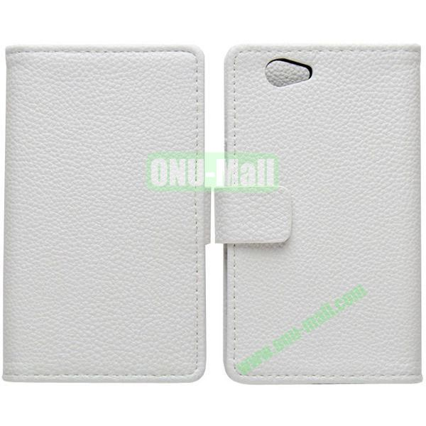 Litchi Texture Leather Cover for Sony Xperia Z1 Mini with Credit Card Slots & Holder(White)