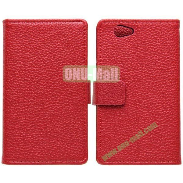 Litchi Texture Leather Cover for Sony Xperia Z1 Mini with Credit Card Slots & Holder(Red)