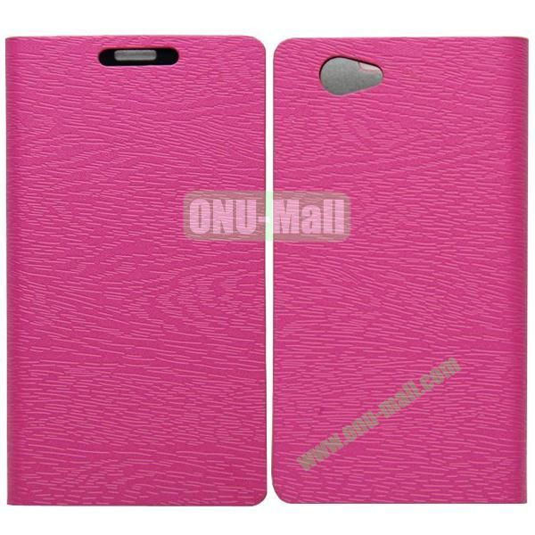 Wood Texture Leather Case Cover for Sony Xperia Z1 Mini with Holder and Credit Card Slots(Rose)