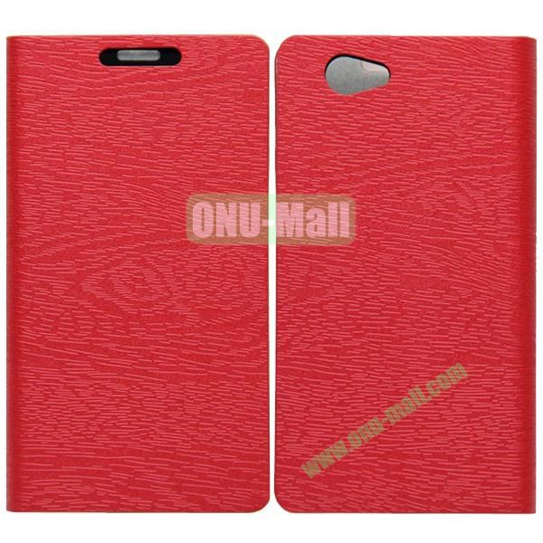 Wood Texture Leather Case Cover for Sony Xperia Z1 Mini with Holder and Credit Card Slots(Red)